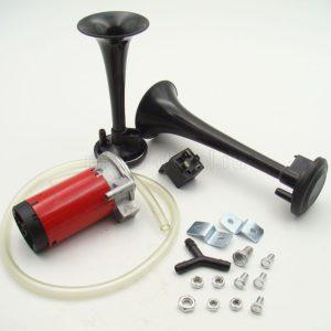 Купить Сигнал звуковой 12-24В 117Дб (дудка) (пневматический) в сб. (черный) (компл.: 2 рожка