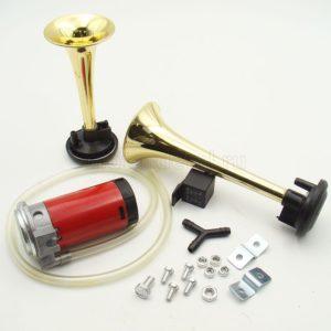 Купить Сигнал звуковой 12-24В 117Дб (дудка) (пневматический) в сб. (хром.) (компл.: 2 рожка